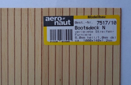BOOTSDECK 6,0h/1,0d, Länge 1 m, Breite 15 cm (2 x 7,5 cm)