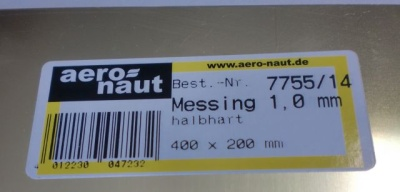 Messing-Blech 400x200x1.0 mm, halbhart, blank