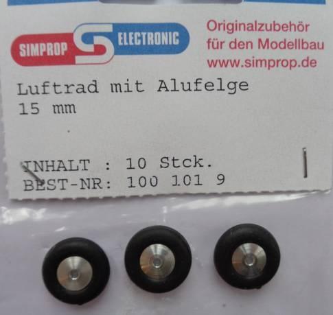 Lufträder m. Alufelge, weich, - 3 Stück -, Außen-Ø  15 mm