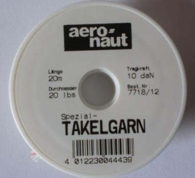 Takelgarn, weiß mit roten Kennfaden, Stärke 0,5 mm,  a 20 m