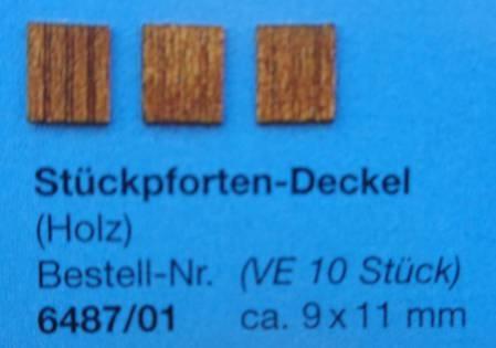 Stückpforten.-Deckel,  Holz, ca. 9 x 11 mm,  10 Stück