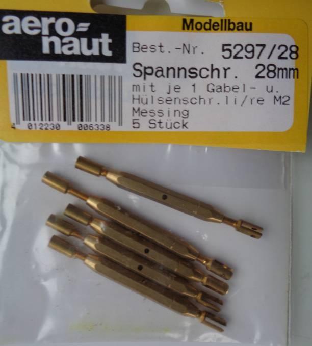 Spannschrauben (Messing) G/H 28 mm, 5 Stück