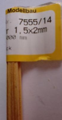 Kiefernleisten 1,5 x 2 mm, 1 m lang, 10 Stück