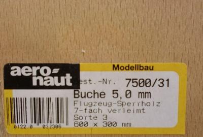 Buchen-Flugzeug-Sperrholz 600 x 300 x 5.0 mm, 7-fach verl.