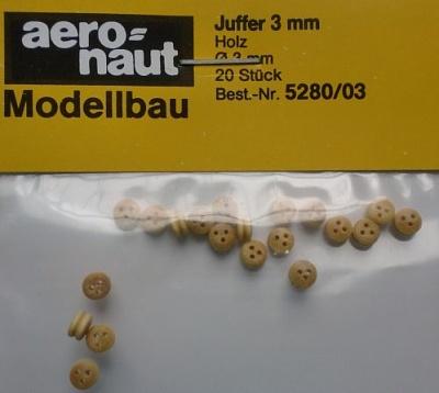 Juffern, Holz, hell,  3,5 mm, 20 Stück