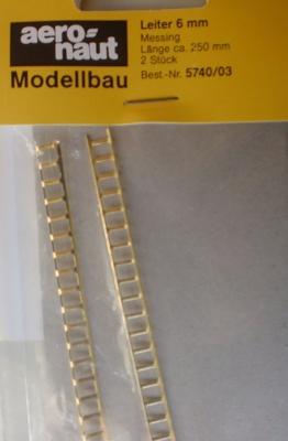 Leiter Messing,  6 mm breit, 25 cm lang, 2 Stück