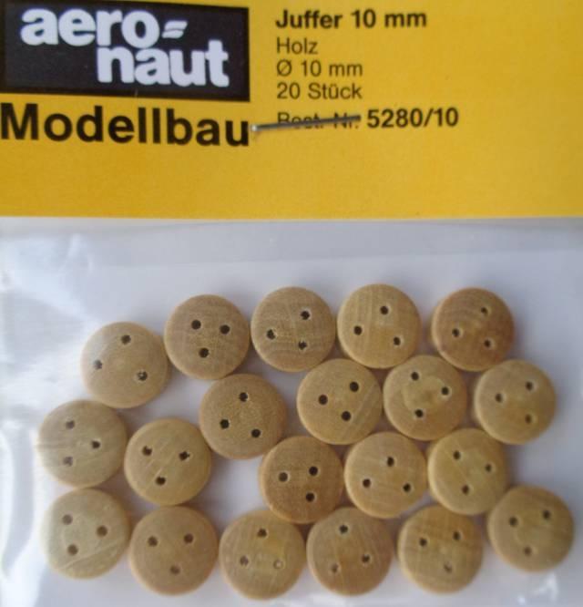 Juffern, Holz, hell,  10 mm, 20 Stück