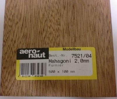 MAHAGONI-Furnier, 500x100x2.0 mm, 10 Stück