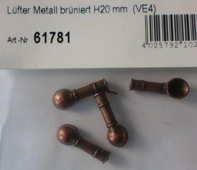 Lüfter Metall brüniert Höhe 20 mm,  Ø-Öffn. 7 mm, 4 Stück