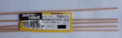 5 Stück Biegeleisten Buche   2 x  2 mm,  1 m lang