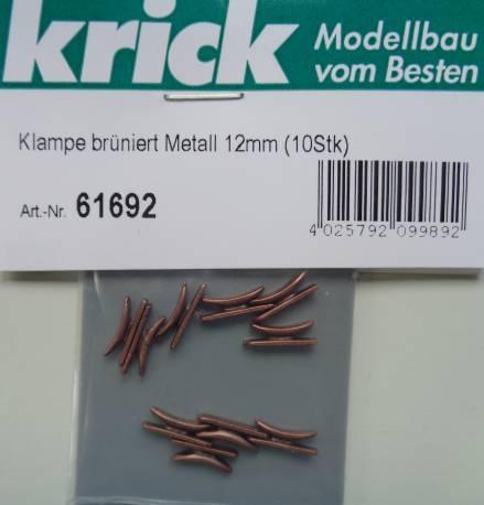 Klampe brüniert Metall 12mm (10 Stück)