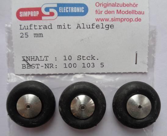 Lufträder m. Alufelge, weich, - 3 Stück - , Außen-Ø  25 mm