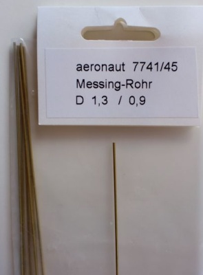 1 x Messing-ROHR 1,3/0.9mm,  1 m lang