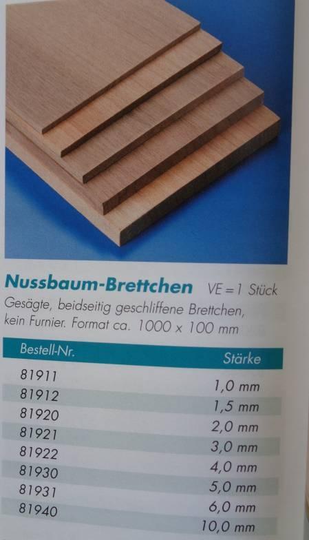 Nußbaumbrettchen 1000x100x1 mm