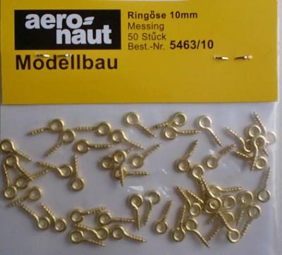 Ringösen, Messing, 10 mm, 50 Stück