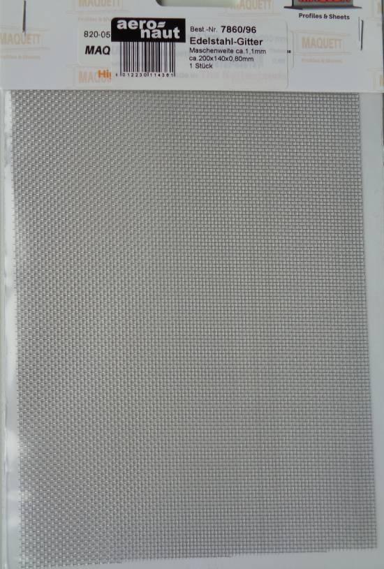 Gitter-Blech aus Edelstahl, rostfrei, 1 Stück