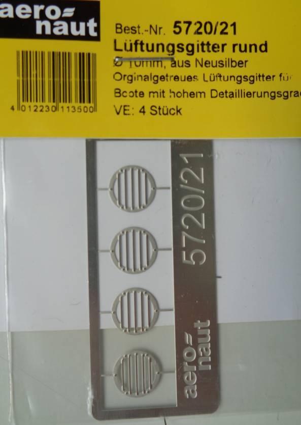 Lüftungsgitter rund Ø 10 mm, 4 Stück