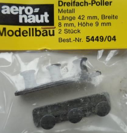 Dreifach-Poller  10 mm,  (Metall brüniert), 2 Stück
