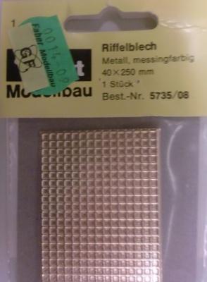 Riffelblech, metall messingfarbig, 40 x 250 mm