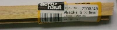 ABACHI -Vierkantleisten  5 x 5 mm, 1 m lang, 10 Stück