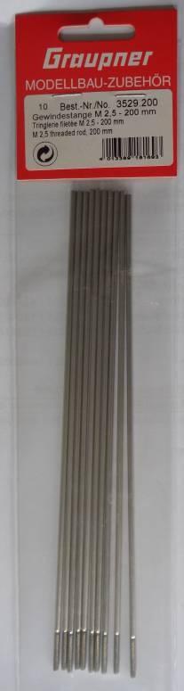 Gewindestange M2,5x200 mm, 10 Stück