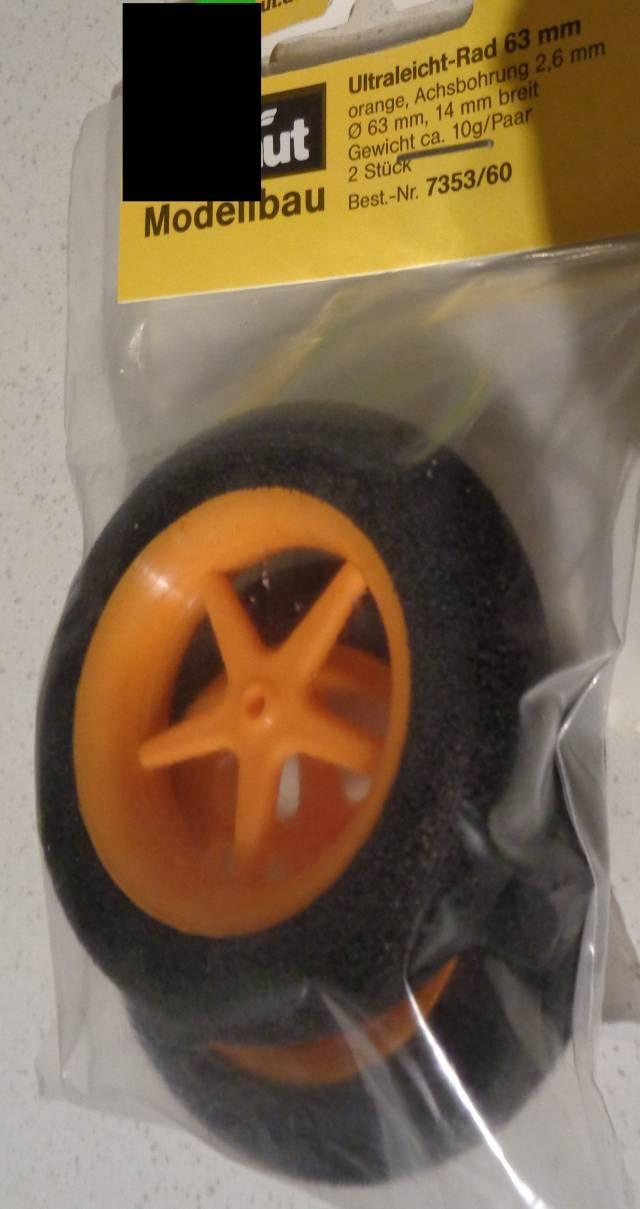 Ultraleicht-Modell-Räder, Ø 63, Breite 12mm, orange