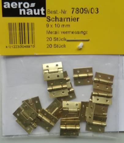 SCHARNIERE, Metall, vermessingt,  9 x 12 mm, 20 Stück