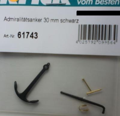 Admiralitätsanker 30 mm schwarz brüniert