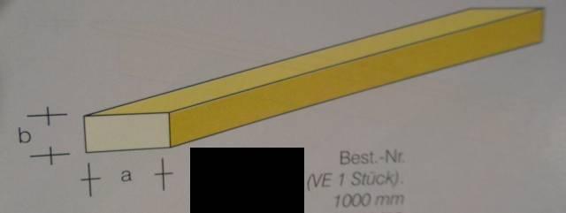 Messing-Vierkant-Profil 1 x 1 mm, 1 m lang