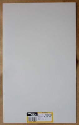 Styrol-Platten, weiß, Stärke 0,75 mm, 320 x 194 mm