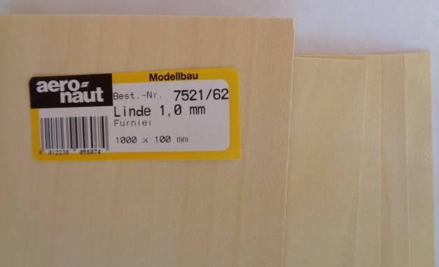Linde-Furnier 1000x100x1,0 mm, 5 Stück