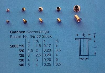 Gatche/Bullaugen, Ø äußerer Rand 3 mm, Länge 2 mm, 50 Stück