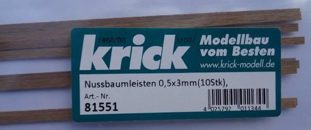 Nussbaumleisten 0,5x3mm