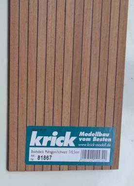 Bootsdeck Mahagoni, Zwischensch. schwarz, Brettstärke1,5 mm