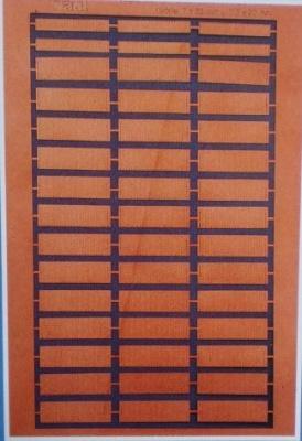 Kupferbeschagblech 39 Plätt. 7x23 mm, 6 Plätt. 3,5 x 33 mm
