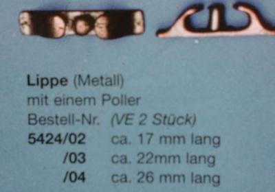 Lippe Metall, mit einem Poller,  ca. 22 mm lang, 2 Stück