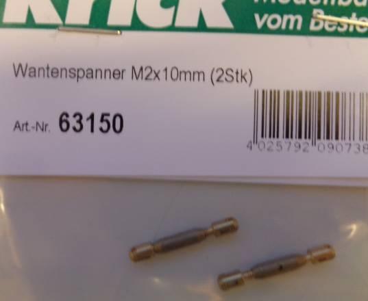 Wantenspanner mit Schlitzendstück M 2 x 10 mm, 2 Stück