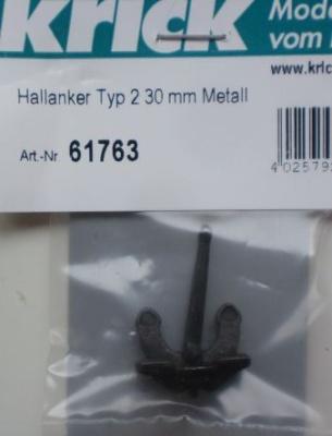 Hallanker Typ 2, Länge 30 mm,  Metall