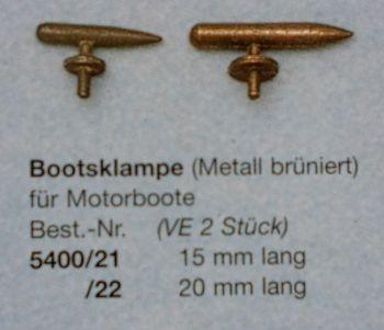Bootsklampen, Metall brüniert, 20 mm lang, 2 Stück
