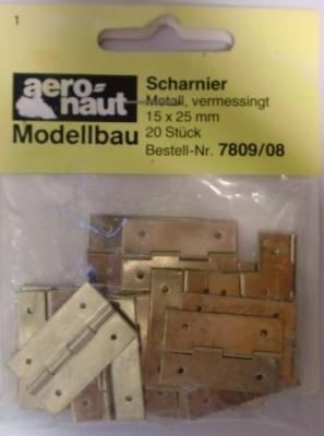 SCHARNIERE, Metall, vermessingt,  15 x 25 mm, 20 Stück