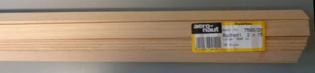 BUCHEN-Vierkantleisten  2 x 15 mm, 1 m lang, 10 Stück