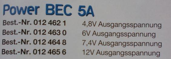 Power BEC 5 A, Ausgangsspannung 6 V -neu-