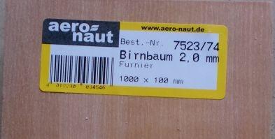 Birnbaum-Furnier 1000x100x2.0 mm, 10 Stück