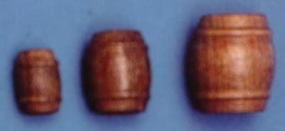Fässer, Holz, dunkel, 10 mm hoch, 10 Stück