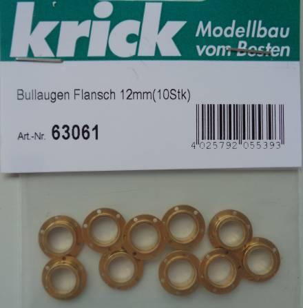 Bullaugen mit Flansch 12mm (10Stück)