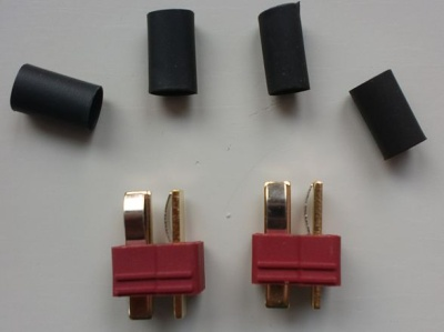 T - Stecker 50 Amp., 2-polig, mit Schrumpfschlauch (2 Stück)