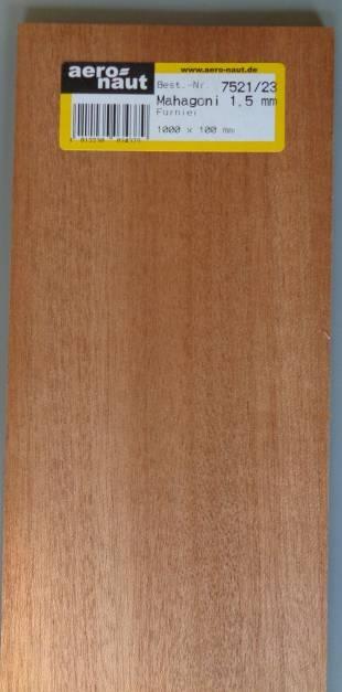 MAHAGONI-Furnier, 1000x100x1.5 mm, 10 Brettchen