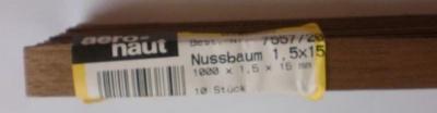 Nussbaum-Vierkantleisten 1,5 x 15 mm, Länge 1 m, 10 Stück