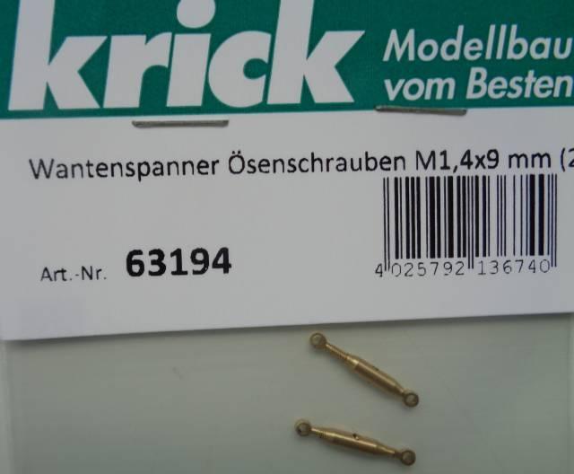Wantenspanner mit Ösenschrauben M 1,4x9 mm, 2 Stück