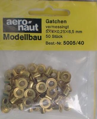 Gatche/Bullaugen, Ø äußerer Rand 6,5mm, Länge 5 mm, 50 Stück
